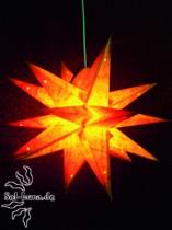 Klassischer Adventsstern / Weihnachtsstern GELB-BATIK